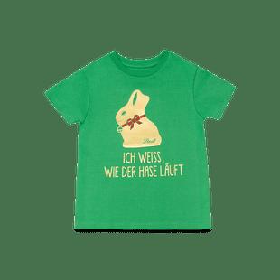 """Kinder T-Shirt """"Ich weiß, wie der Hase läuft"""" grün, Größe 110-116"""