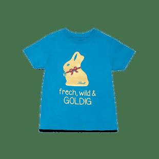 """Kinder T-Shirt """"Frech, wild & goldig"""" blau, Größe 110-116"""